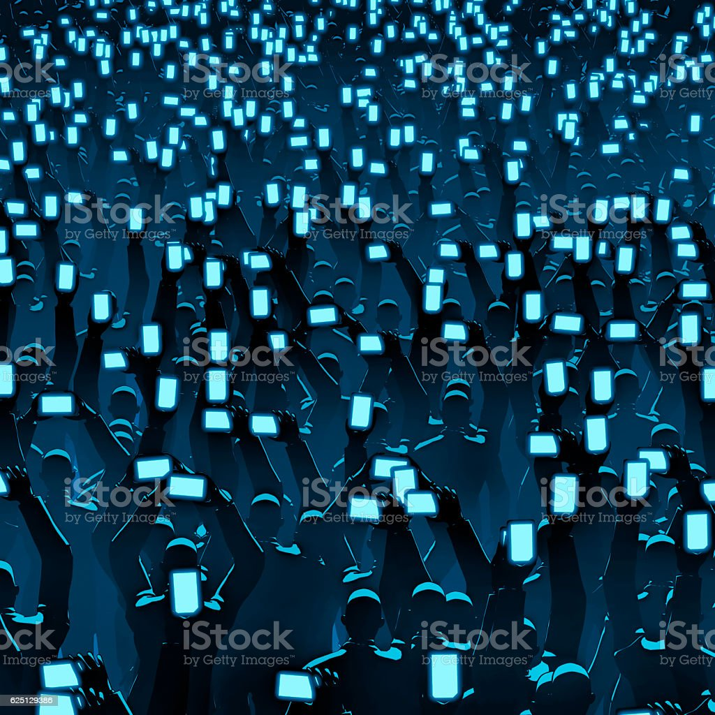 Cell phone crowd vector art illustration