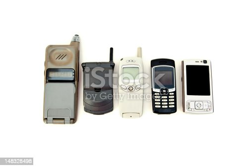 Cell phone variety from old obsolete to modern equipement