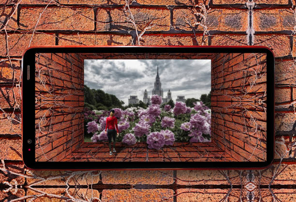 cell phone futuristic view of old tunnel with brick wall, dry ivy and red sporty girl entering botanic garden of famous russian university under dramatic sky with pink peony flowers - ivy corporate building imagens e fotografias de stock