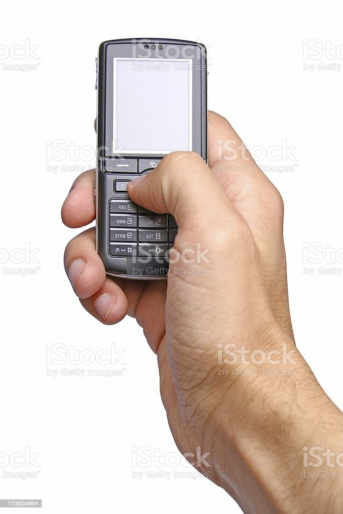 Cell phone in a hand stock photo