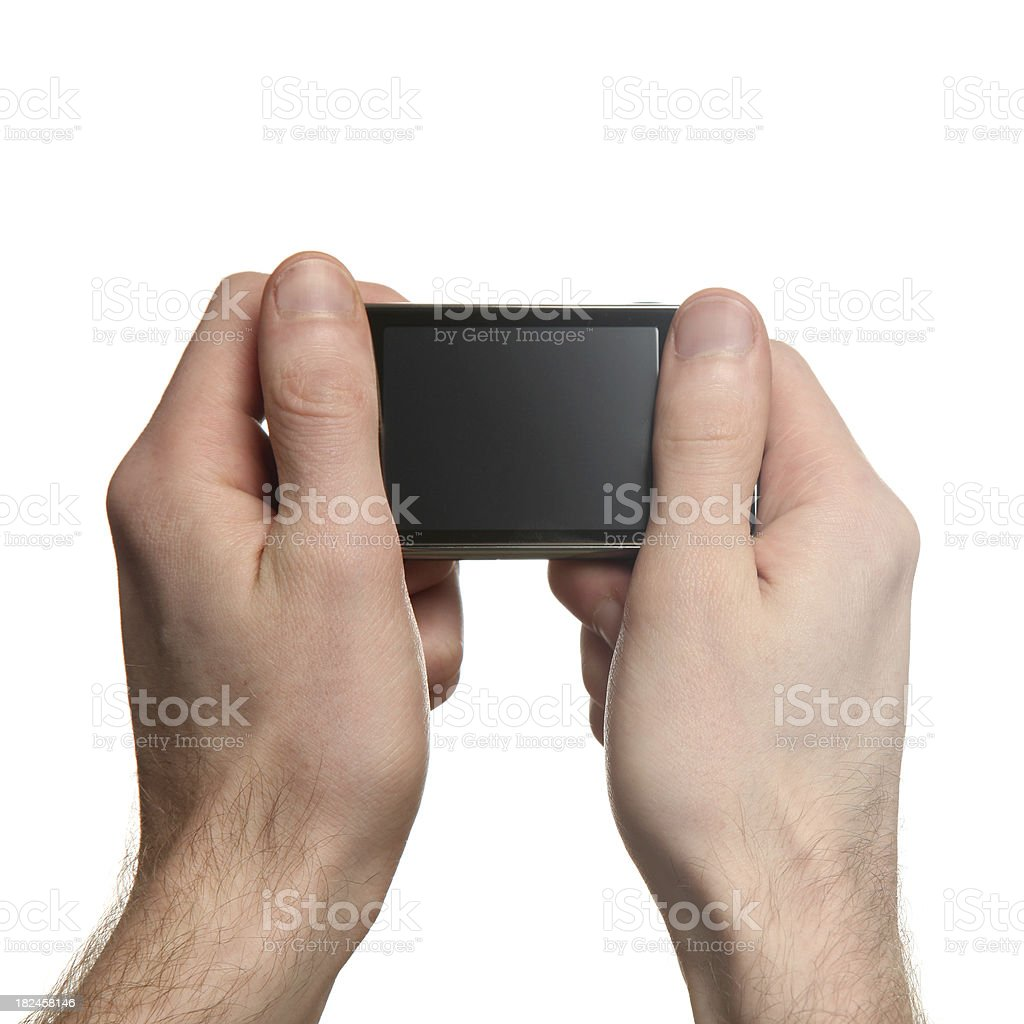 Cell phone in hand royalty-free stock photo