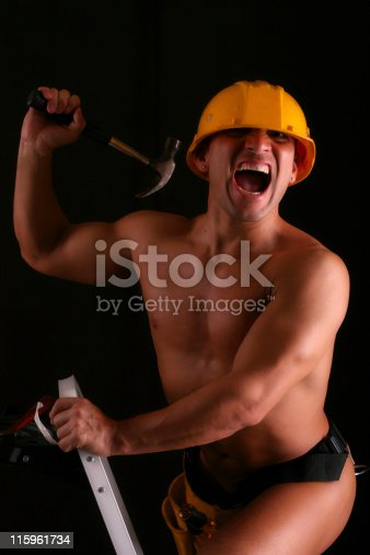 with hammer, hat and ladder