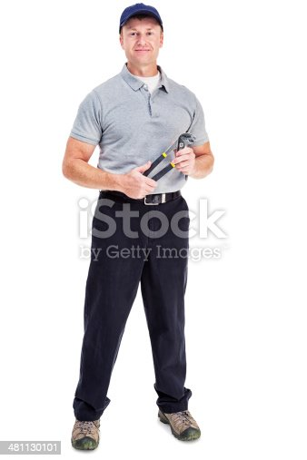 Photo of a handyman holding a pair of channel lock plyers; isolated on white.