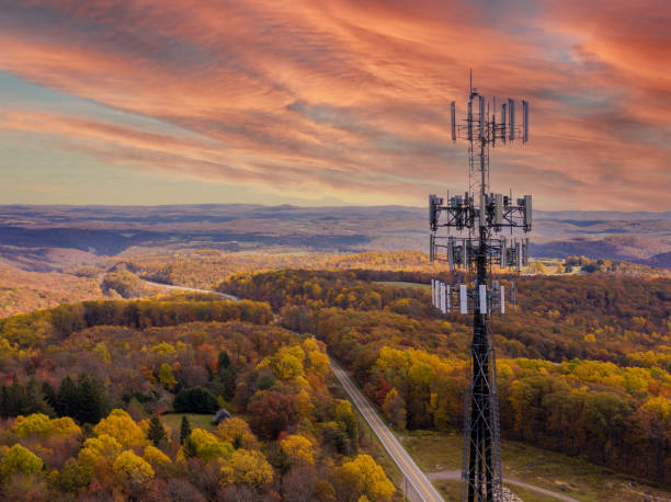 Cell phone or mobile service tower in forested area of West Virginia providing broadband service stock photo
