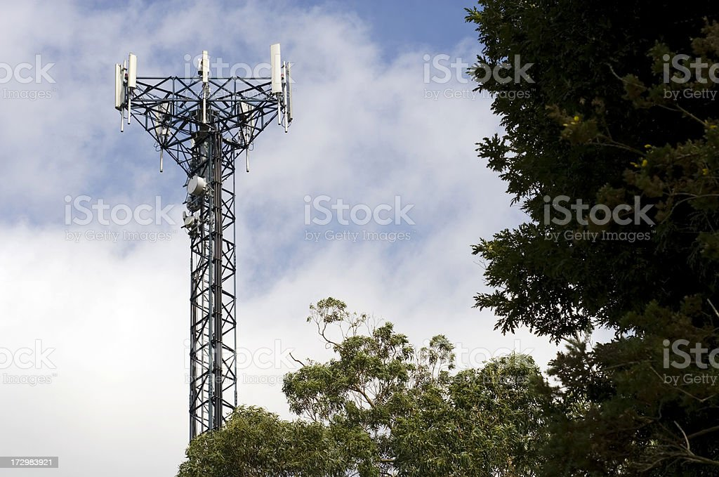Cell phone relay mast. Aerial. stock photo