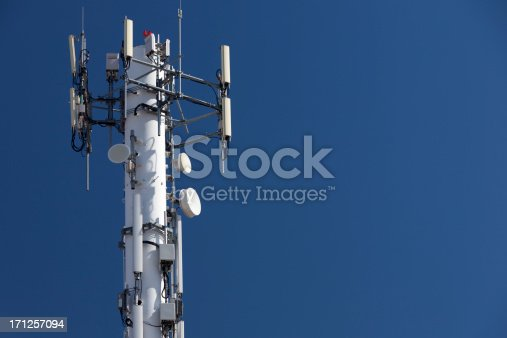 The top of a cell phone tower.