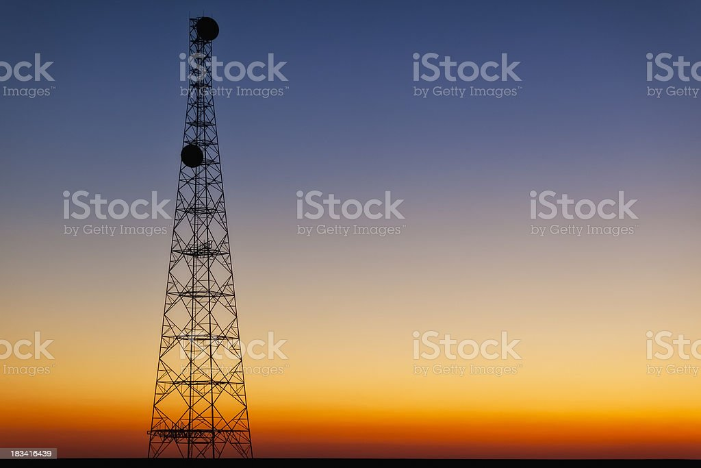 Cell Phone Tower to Dusk stock photo