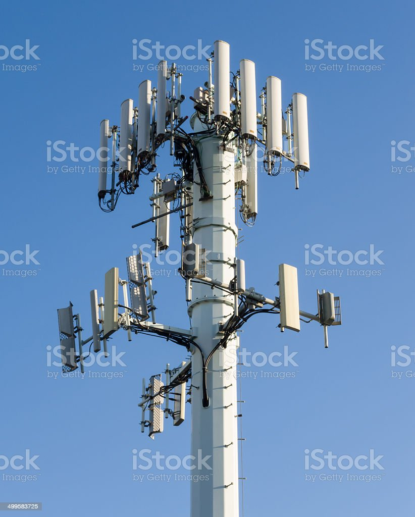 Cell Phone Tower with Blue Sky stock photo