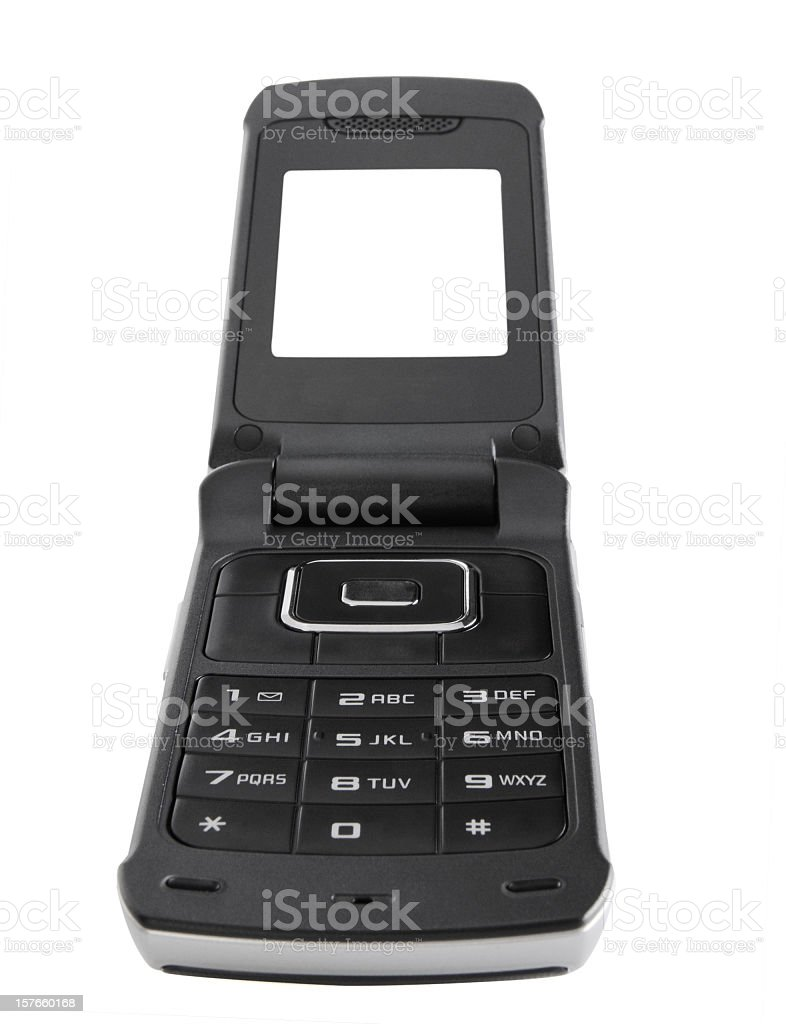 Cell phone with clipping paths in wide angle royalty-free stock photo