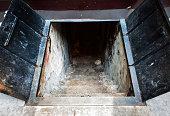 Cellar Stairway in a New York City Street with metal doors.