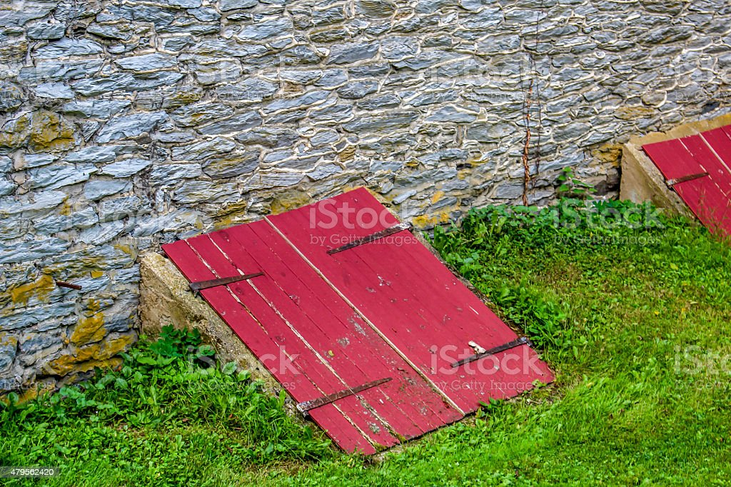 Cellar doors stock photo