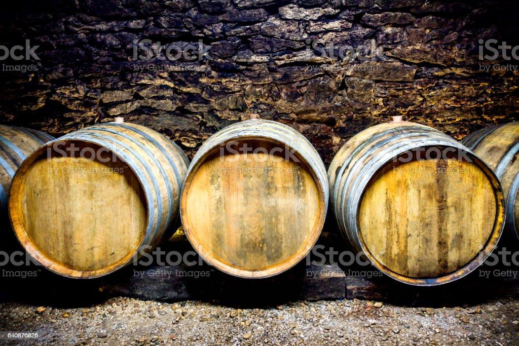 cellar hungary tokaj barrel bottle azsu zsamorodni undergroud stock photo