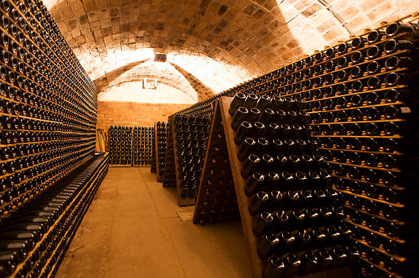 Cellar Old Celler full of aging bottles of wine/champagne cellar stock pictures, royalty-free photos & images
