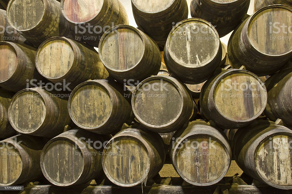 cellar with wine barrels royalty-free stock photo