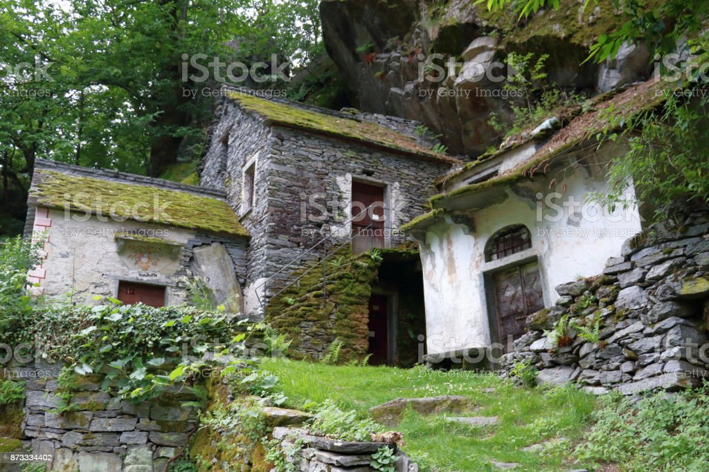 Cellars in the Swiss mountains stock photo
