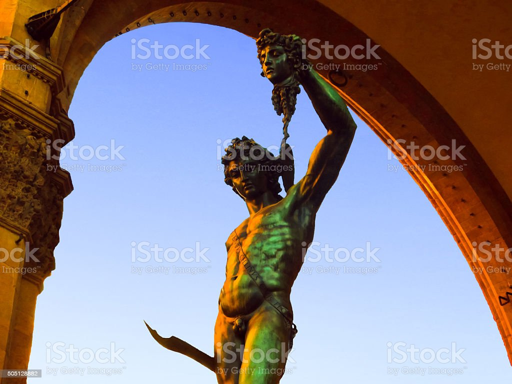 Cellinis Perseus With Head Of Medusa Statue Florence Italy