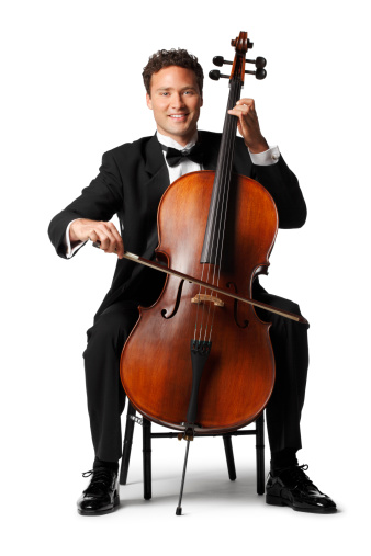 A cello player playing his cello.