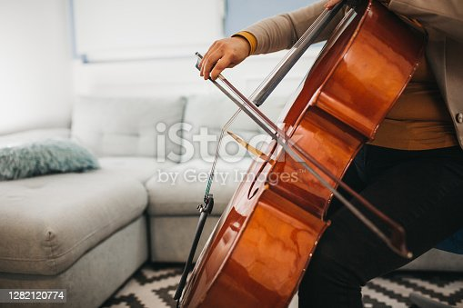 cellist practice at home