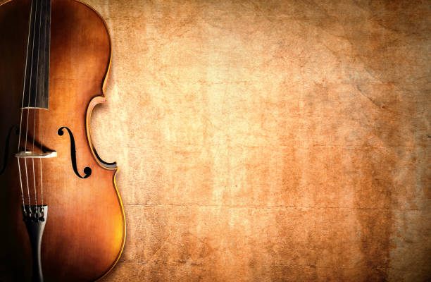Cello and blank grunge background stock photo