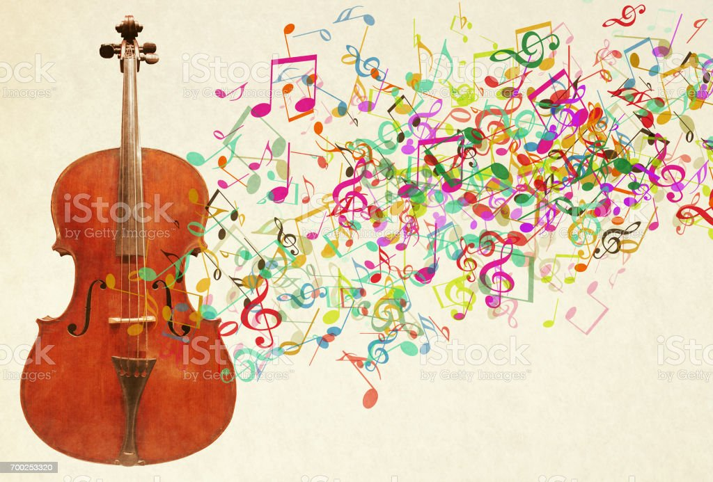 Cello and Musical Notes stock photo