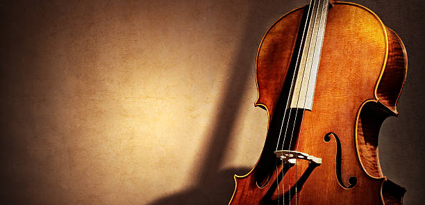 cello background with copy space for music concept - classical stock photos and pictures