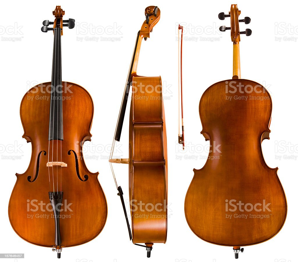 Cello Front Back Side royalty-free stock photo