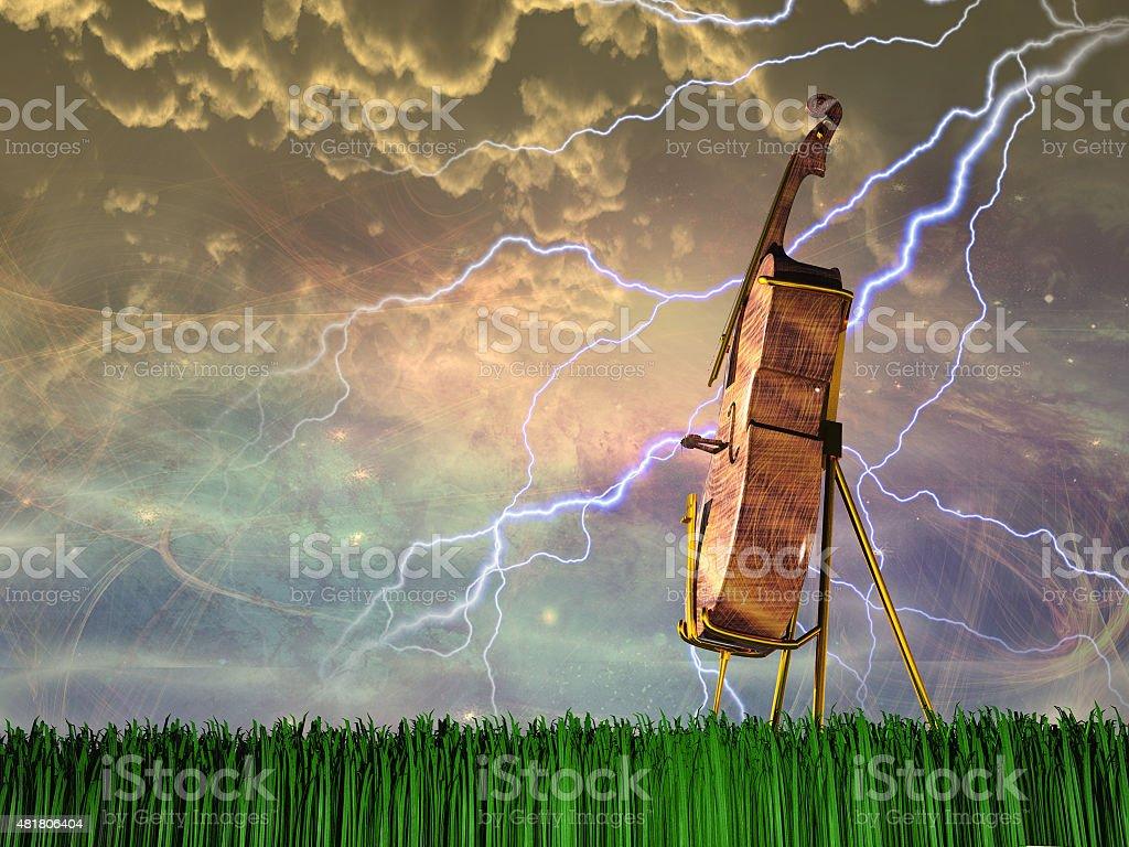 Cello in dream like landscape stock photo
