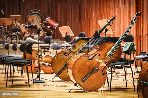 istock Cello Music instruments on a stage 489518962
