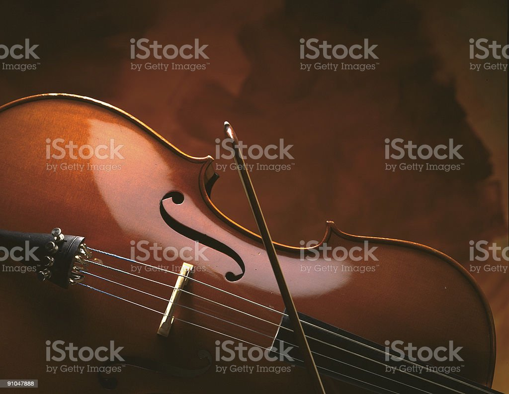 cello on brown stock photo