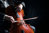 istock Cello player or cellist performing in an orchestra background 1207748648