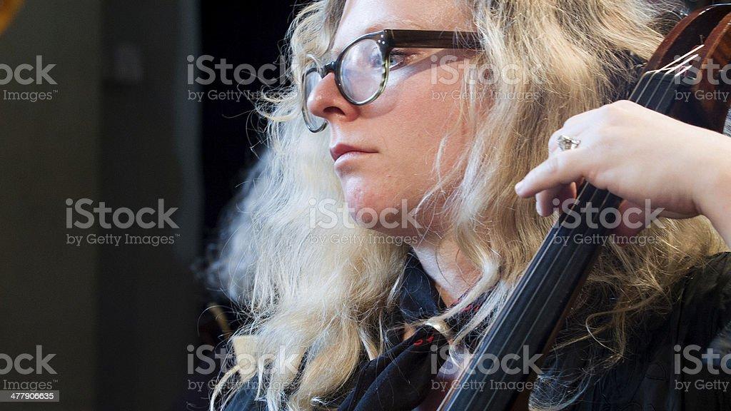Cello player rehearsing royalty-free stock photo
