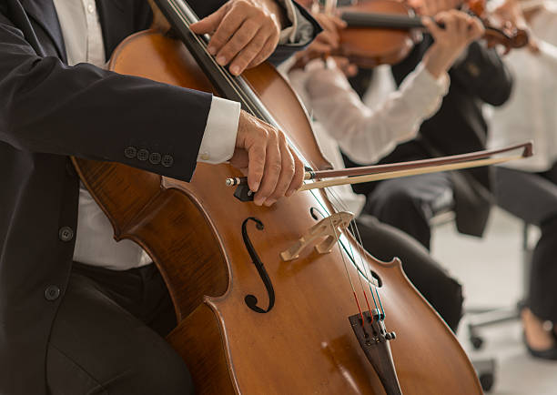 cellospieler's hands nahaufnahme - philharmonie stock-fotos und bilder