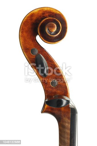 Cello scroll close up isolated on white background