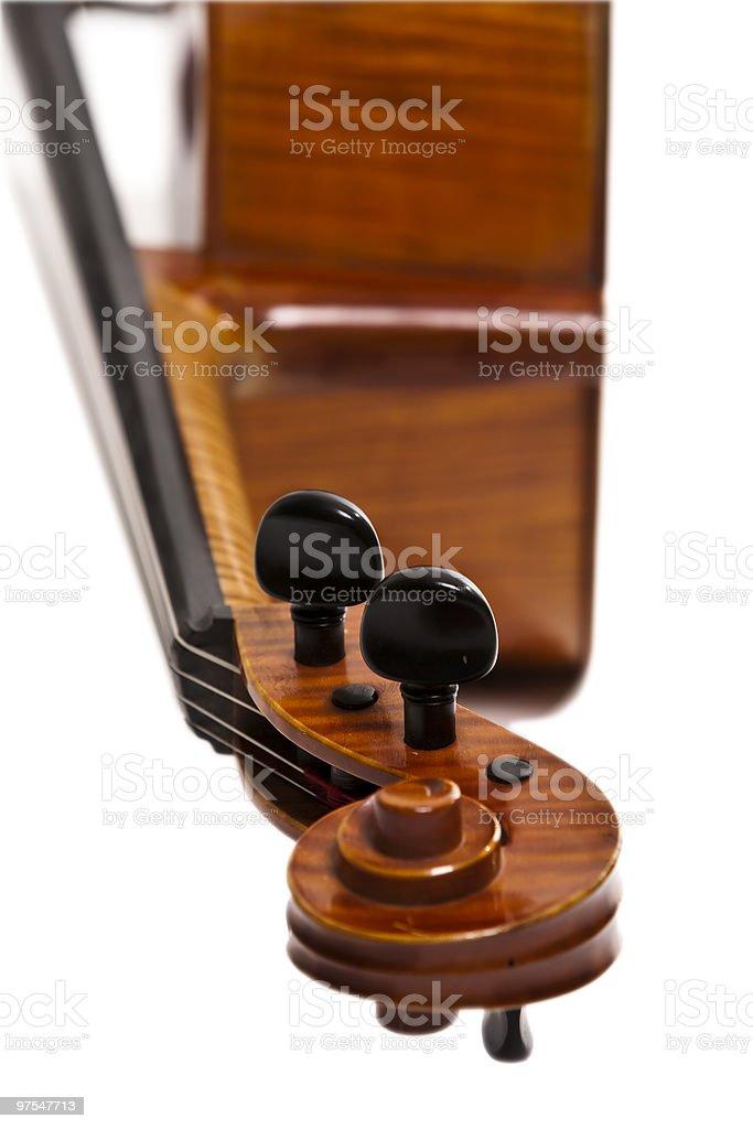 Cello, tuning knobs detail royalty-free stock photo