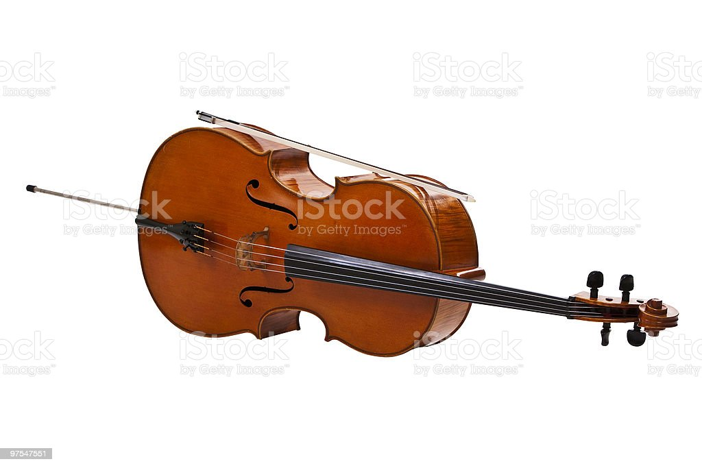 Cello with bow royalty-free stock photo