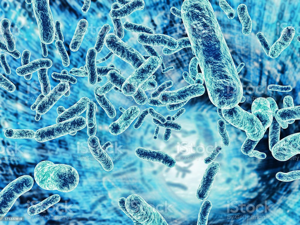 Cells flowing in a data channel stock photo