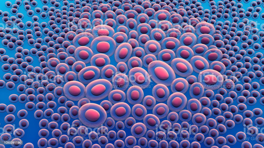 Cells or cancer cells growing stock photo
