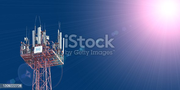 479762254 istock photo Cellular phone antennas on the top of the telecommunication GSM 5G tower .Future communication system. 3d illustration 1209222728