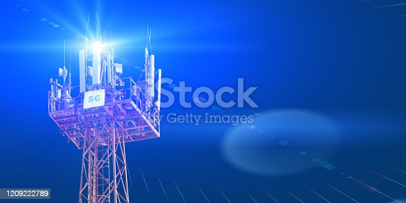 479762254 istock photo Cellular phone antennas on the top of the telecommunication GSM 5G tower .Future communication system. 3d illustration 1209222789