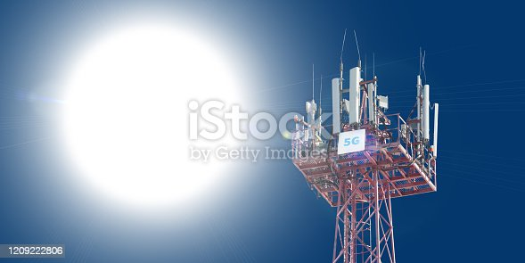 479762254 istock photo Cellular phone antennas on the top of the telecommunication GSM 5G tower .Future communication system. 3d illustration 1209222806