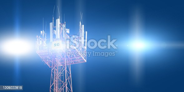 479762254 istock photo Cellular phone antennas on the top of the telecommunication GSM 5G tower .Future communication system. 3d illustration 1209222815