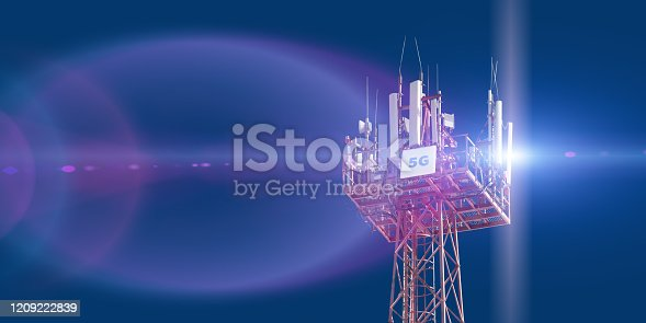 479762254 istock photo Cellular phone antennas on the top of the telecommunication GSM 5G tower .Future communication system. 3d illustration 1209222839