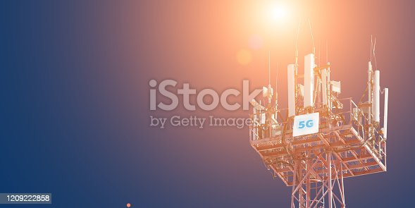 479762254 istock photo Cellular phone antennas on the top of the telecommunication GSM 5G tower .Future communication system. 3d illustration 1209222858