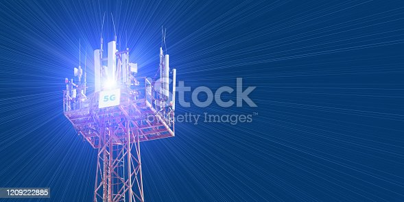 479762254 istock photo Cellular phone antennas on the top of the telecommunication GSM 5G tower .Future communication system. 3d illustration 1209222885
