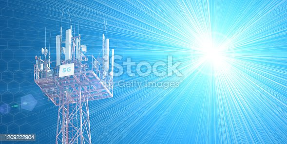 479762254 istock photo Cellular phone antennas on the top of the telecommunication GSM 5G tower .Future communication system. 3d illustration 1209222904