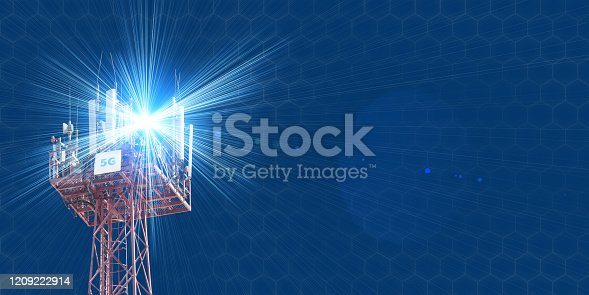 479762254 istock photo Cellular phone antennas on the top of the telecommunication GSM 5G tower .Future communication system. 3d illustration 1209222914