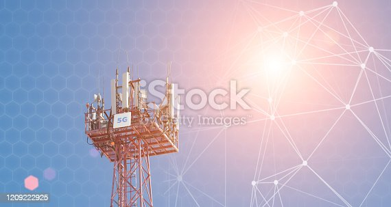 479762254 istock photo Cellular phone antennas on the top of the telecommunication GSM 5G tower .Future communication system. 3d illustration 1209222925