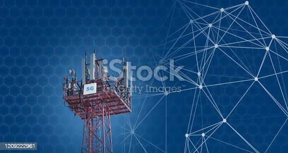 479762254 istock photo Cellular phone antennas on the top of the telecommunication GSM 5G tower .Future communication system. 3d illustration 1209222961