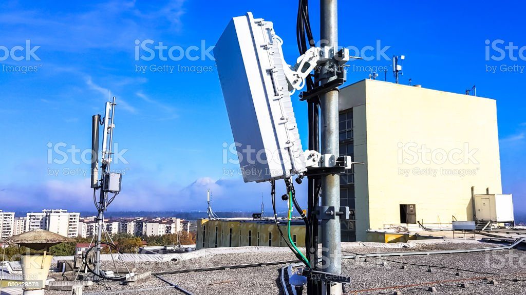 Cellular radio network antennas stock photo