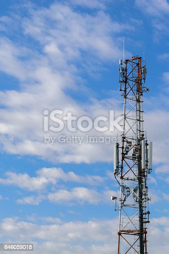 1145453438istockphoto cellular repeter tower for 2g, 3g, 4g and 5g transmision - GSM 646059018
